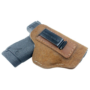 Relentless Tactical Holsters CLEARANCE!! The Ultimate Suede Leather IWB Holster - S&W Shield/Glock/XD -Made in USA Inside the Waistband - Right Handed / Brown