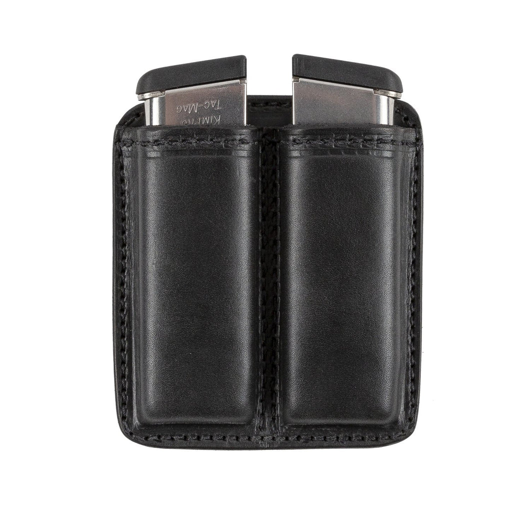 Leather 2 Magazine Holder | Made In USA | Lifetime Warranty | Fits virtually any 9mm, .40, .45 or .380 Pistol Mag | Single or Double Stack | IWB or OWB Tactical Accessories Single Stack / Black
