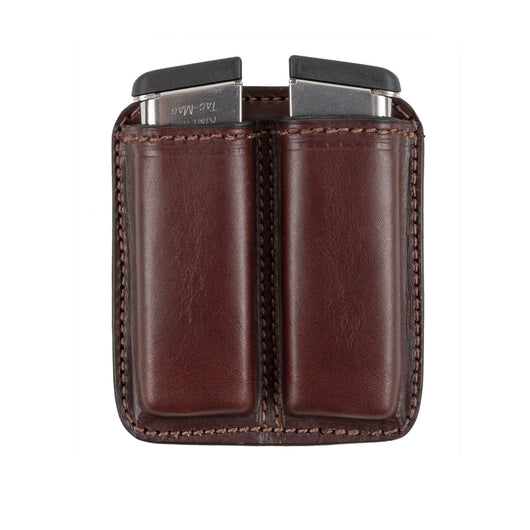 Leather 2 Magazine Holder | Made In USA | Lifetime Warranty | Fits virtually any 9mm, .40, .45 or .380 Pistol Mag | Single or Double Stack | IWB or OWB Tactical Accessories Single Stack / Brown