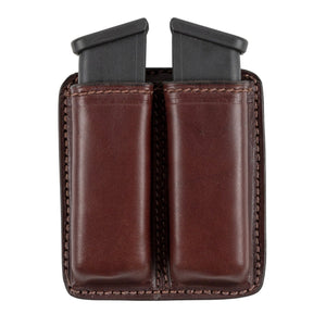 Leather 2 Magazine Holder | Made In USA | Lifetime Warranty | Fits virtually any 9mm, .40, .45 or .380 Pistol Mag | Single or Double Stack | IWB or OWB Tactical Accessories Double Stack / Brown