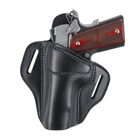 Load image into Gallery viewer, Relentless Tactical Ultimate Leather Holster 2 Slot OWB | Made in USA | Lifetime Warranty | Fits Most 1911 Style Handguns | Kimber - Colt - S & W - Sig Sauer - Remington - Ruger - Springfield & More Holsters Left Handed / Black