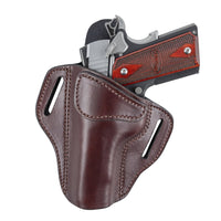 Load image into Gallery viewer, Relentless Tactical Ultimate Leather Holster 2 Slot OWB | Made in USA | Lifetime Warranty | Fits Most 1911 Style Handguns | Kimber - Colt - S & W - Sig Sauer - Remington - Ruger - Springfield & More Holsters Left Handed / Brown