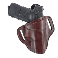 Load image into Gallery viewer, Relentless Tactical Ultimate Leather Holster 2 Slot OWB | Made in USA | Lifetime Warranty | For GLOCK 17 19 22 26 32 33 / S&W M&P Shield / Springfield XD & XDS / Plus All Similar Sized Handguns Holsters Right Handed / Brown