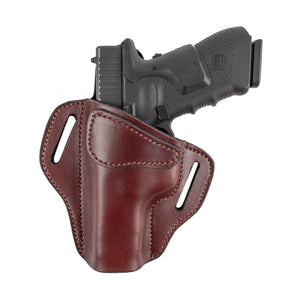 Relentless Tactical Ultimate Leather Holster 2 Slot OWB | Made in USA | Lifetime Warranty | For GLOCK 17 19 22 26 32 33 / S&W M&P Shield / Springfield XD & XDS / Plus All Similar Sized Handguns Holsters Left Handed / Brown