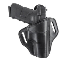 Load image into Gallery viewer, Relentless Tactical Holsters Relentless Tactical Ultimate Leather Holster 2 Slot OWB | Made in USA | Lifetime Warranty | For GLOCK 17 19 22 26 32 33 / S&W M&P Shield / Springfield XD & XDS / Plus All Similar Sized Handguns Right Handed / Black