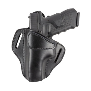 Relentless Tactical Ultimate Leather Holster 2 Slot OWB | Made in USA | Lifetime Warranty | For GLOCK 17 19 22 26 32 33 / S&W M&P Shield / Springfield XD & XDS / Plus All Similar Sized Handguns Holsters Left Handed / Black