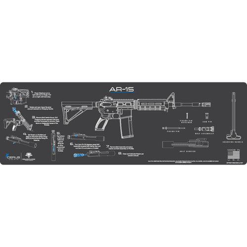 Rifle Cleaning Mat - Instructional - AR-15 - Made in the USA