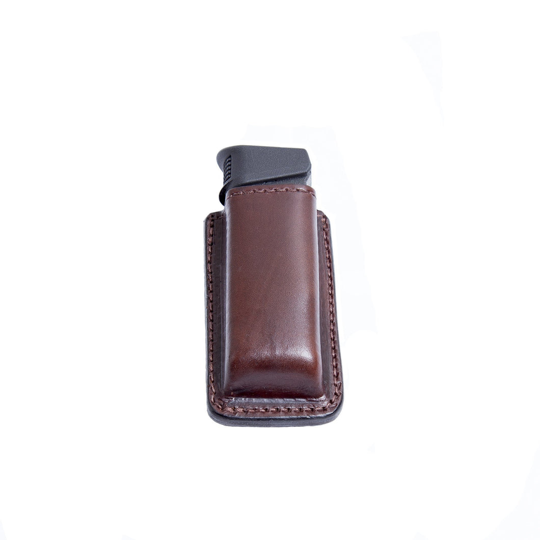 Relentless Tactical Tactical Accessories CLEARANCE!! Leather Magazine Holder | Made In USA | Fits virtually any 9mm, .40, .45 or .380 Pistol Mag | Single or Double Stack | IWB or OWB Double Stack / Brown
