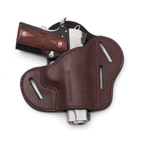 Load image into Gallery viewer, The Ultimate Leather Gun Holster | 3 Slot Pancake Style Belt Holster | Handmade in the USA! | Fits all 1911 Style Handguns