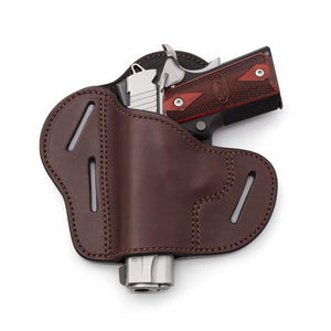 The Ultimate Leather Gun Holster | 3 Slot Pancake Style Belt Holster | Handmade in the USA! | Fits all 1911 Style Handguns