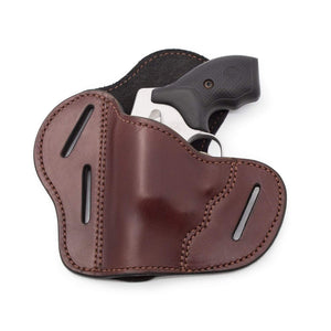 The Ultimate Leather Gun Holster | 3 Slot Pancake Style Belt Holster | Handmade in the USA! | J-Frame & 38 special - Lifetime Warranty