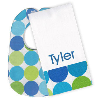 Spa Blue Circle Bib/Monogrammed Burp Set - Moonbeam Baby
