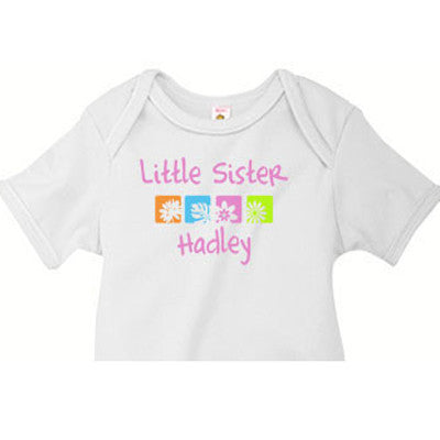 Little Sister Onesie <br>Flower Squares (Pink) - Moonbeam Baby
