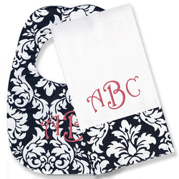 Monogrammed Bib/Burp Set <br> Black Damask - Moonbeam Baby