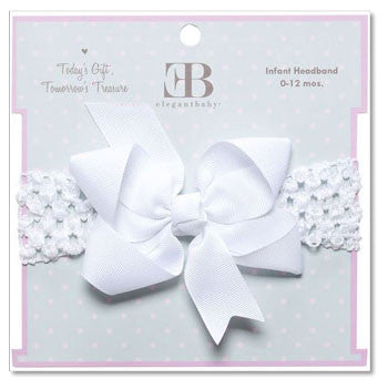 Headband White Fluff Bow - Moonbeam Baby