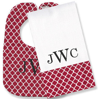 Monogrammed Bib/Burp Set - Red Quatrefoil - Moonbeam Baby