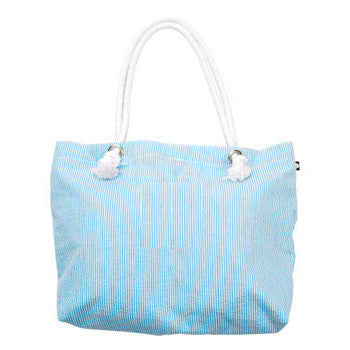Everything Tote  Aqua Seersucker - Moonbeam Baby