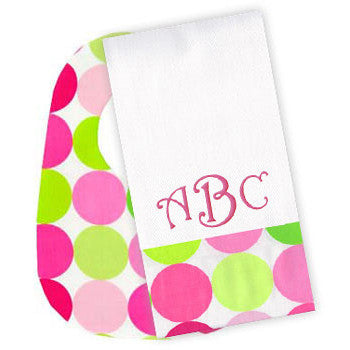 Sorbet Circle Bib/Monogrammed Burp Set - Moonbeam Baby