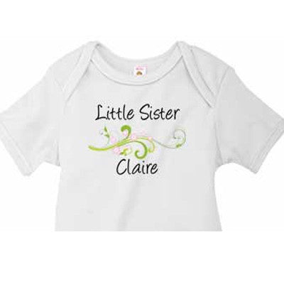 Little Sister Onesie<br>Pink Flowers - Moonbeam Baby