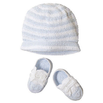 Hat & Bootie Set Crocheted Blue/White - Moonbeam Baby