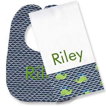 Personalized Bib/Burp Set <br> Navy Waves - Moonbeam Baby