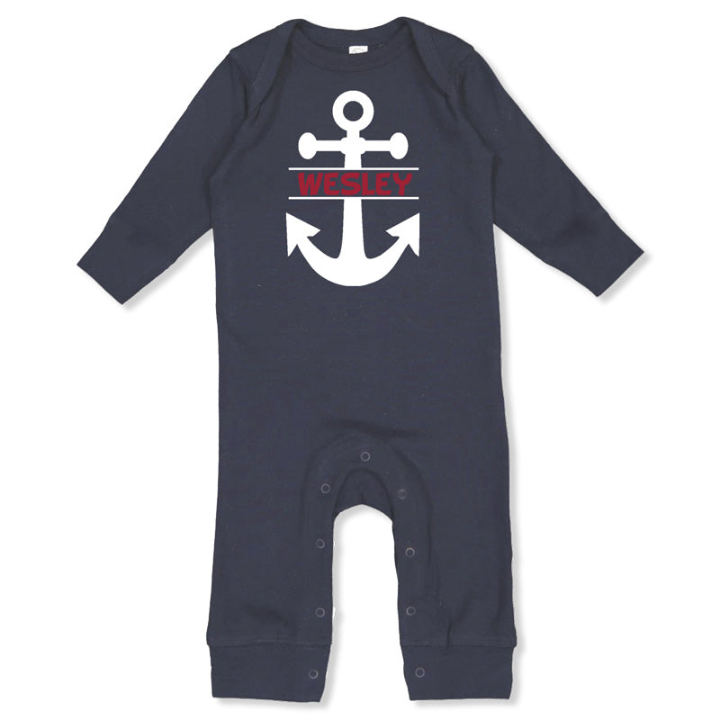 Personalized Bodysuit - Navy Long Sleeve<br> Anchor