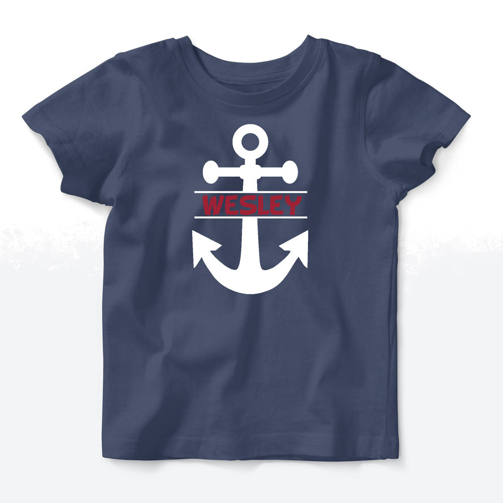 Personalized Tee - Navy Short Sleeve<br> Anchor