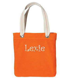 Personalized Allie Tote - Bright Orange - Moonbeam Baby