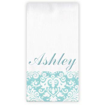 Personalized Burp Cloth<br> Aqua Damask