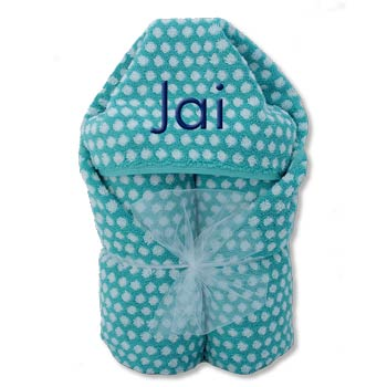 Hooded Towel <br> Aqua and White Dots