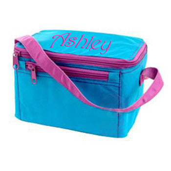 Personalized Lunch Box by Mint<br> Aqua & Hot Pink