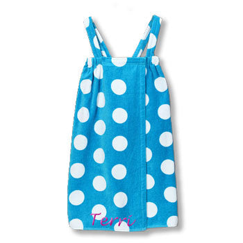 Personalized Girl's Spa Wrap<br>  Aqua/White Polka Dot Velour - Moonbeam Baby