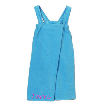 Personalized Girl's Spa Wrap <br>  Aqua Velour - Moonbeam Baby