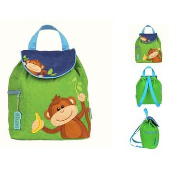Quilted Backpack - Monkey (Green) - Moonbeam Baby