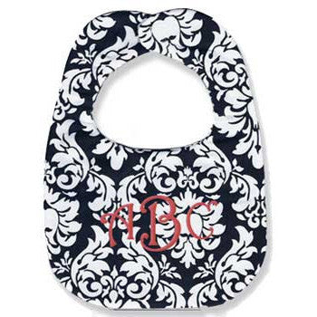 Monogrammed Bib - Black Damask - Moonbeam Baby