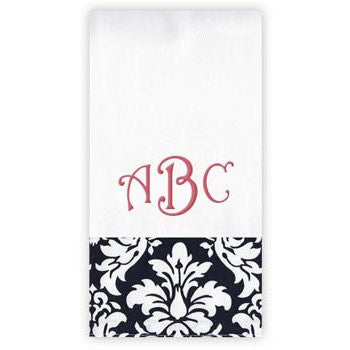Personalized Burp Cloth<br> Black Damask - Moonbeam Baby