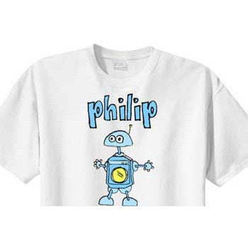 Personalized Boys Shirt<br>Blue Robot - Moonbeam Baby