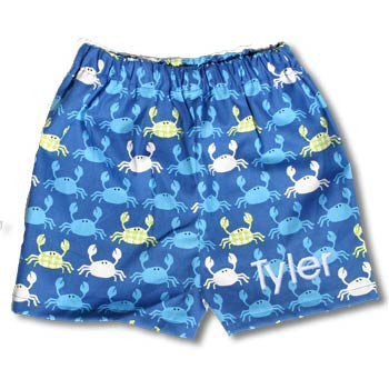 Boy Boxer Shorts - Blue Crabs - Moonbeam Baby