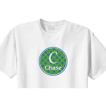 Personalized Boys Shirt<br>Blue/Green Circle