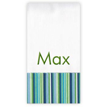 Personalized Burp Cloth<br> Blue Green Stripe - Moonbeam Baby