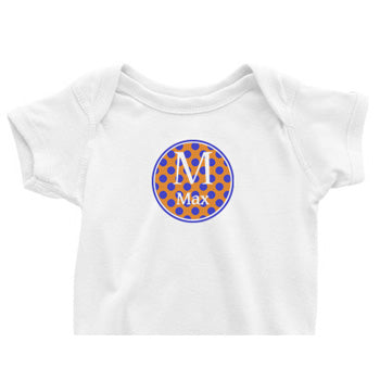 Orange/Blue Circle Custom Onesie
