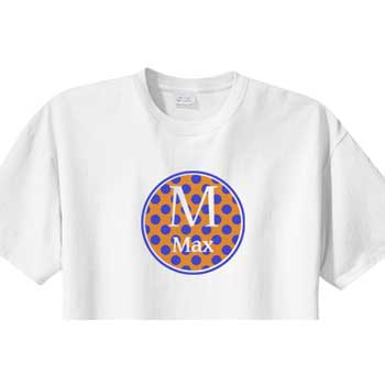 Personalized Boys Shirt<br>Orange/Blue Circle