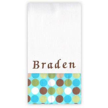 Personalized Burp Cloth<br> Blue Brown Dots - Moonbeam Baby