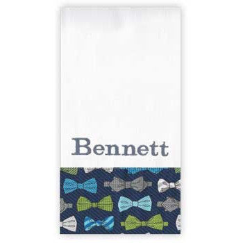 Personalized Burp Cloth<br> Bow Ties - Moonbeam Baby