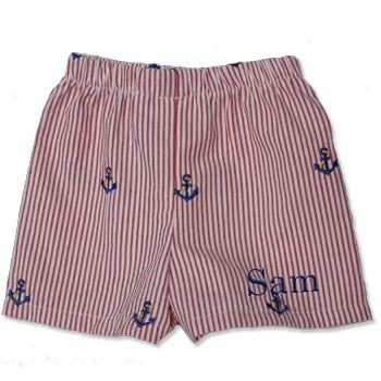 Boy Boxer Shorts - Red Seersucker w/Anchors - Moonbeam Baby