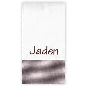 Personalized Burp Cloth<br> Brown Gingham - Moonbeam Baby