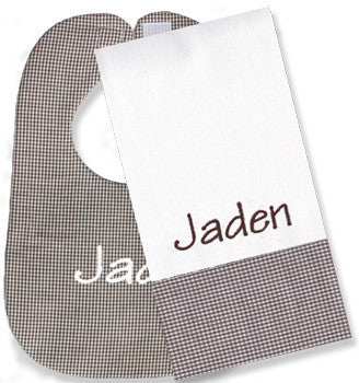 Personalized Bib/Burp Set <br> Brown Gingham - Moonbeam Baby