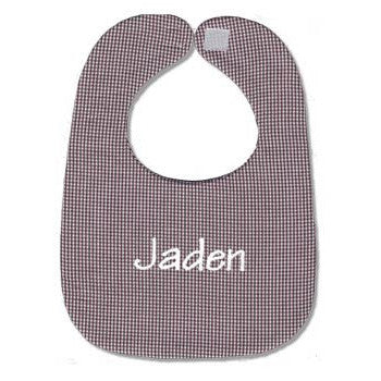 Personalized Bib - Brown Gingham - Moonbeam Baby