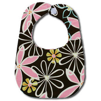 Brown Pink Daisies Bib - Moonbeam Baby