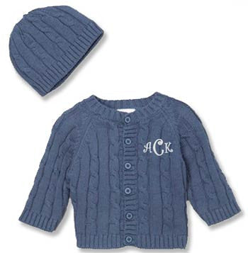 Cardigan Sweater & Hat Set - Denim Washed Navy - Moonbeam Baby